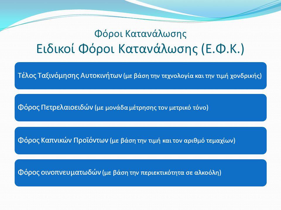 Φόροι Κατανάλωσης Ειδικοί Φόροι Κατανάλωσης (Ε.Φ.Κ.) Τέλος Ταξινόμησης Αυτοκινήτων (με βάση την τεχνολογία και την τιμή χονδρικής) Φόρος Πετρελαιοειδώ