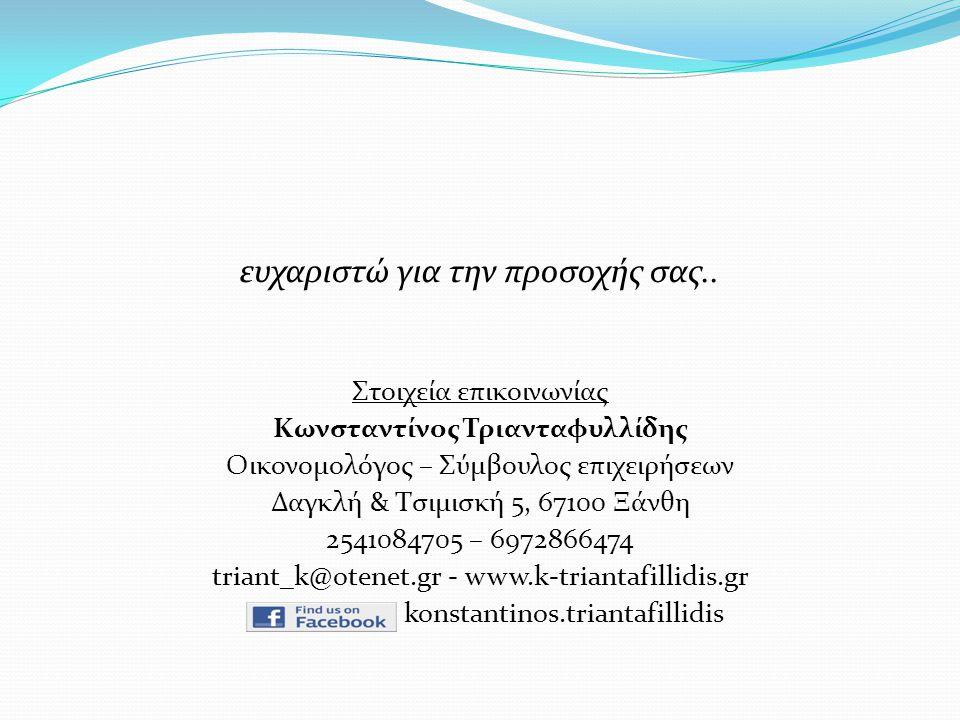 ευχαριστώ για την προσοχής σας.. Στοιχεία επικοινωνίας Κωνσταντίνος Τριανταφυλλίδης Οικονομολόγος – Σύμβουλος επιχειρήσεων Δαγκλή & Τσιμισκή 5, 67100