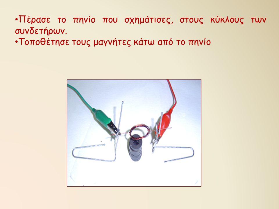 • Πέρασε το πηνίο που σχημάτισες, στους κύκλους των συνδετήρων. • Τοποθέτησε τους μαγνήτες κάτω από το πηνίο