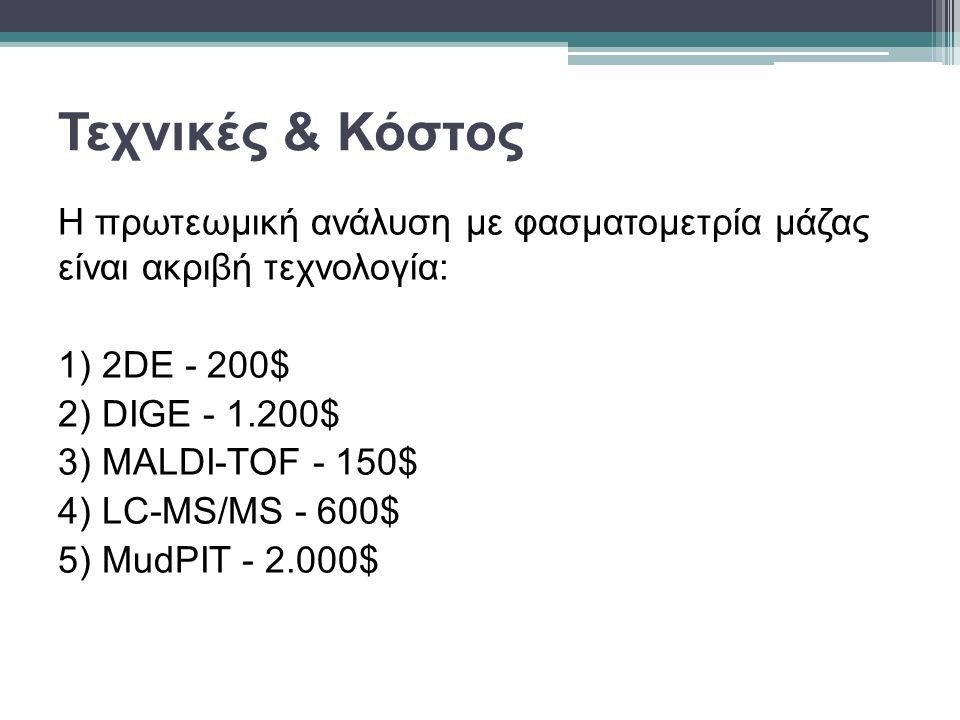 Τεχνικές & Κόστος Η πρωτεωμική ανάλυση με φασματομετρία μάζας είναι ακριβή τεχνολογία: 1) 2DE - 200$ 2) DIGE - 1.200$ 3) MALDI-TOF - 150$ 4) LC-MS/MS