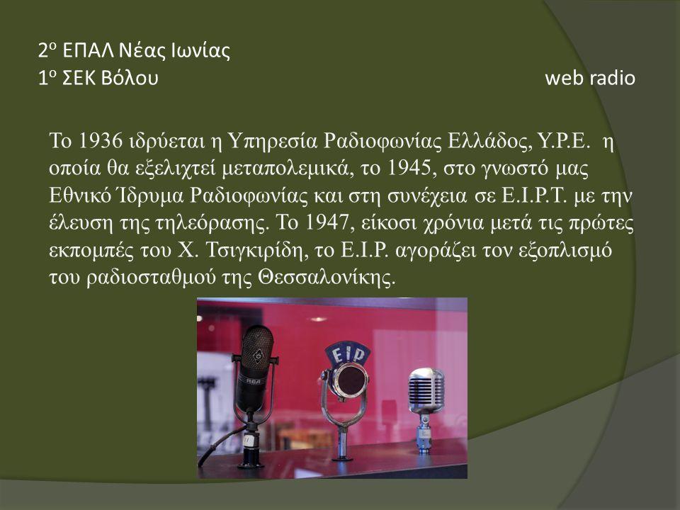 To 1936 ιδρύεται η Υπηρεσία Ραδιοφωνίας Ελλάδος, Υ.Ρ.Ε.