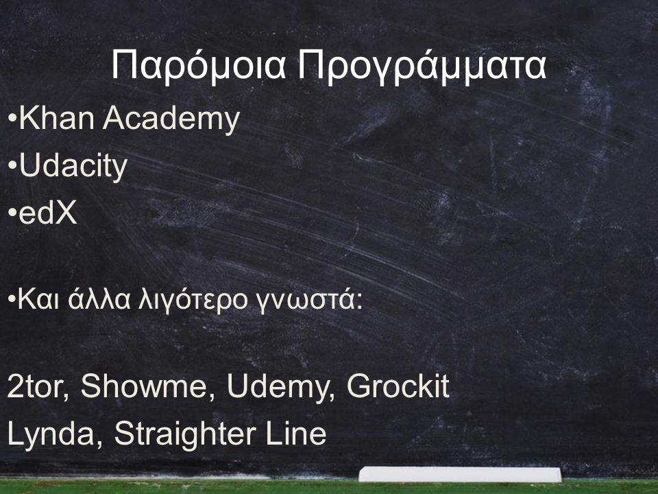 Παρόμοια Προγράμματα •Khan Academy •Udacity •edX •Και άλλα λιγότερο γνωστά: 2tor, Showme, Udemy, Grockit Lynda, Straighter Line