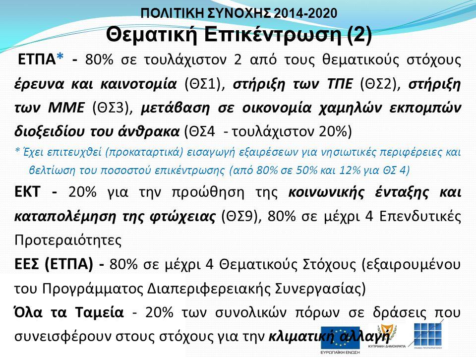 ΕΤΠΑ* - 80% σε τουλάχιστον 2 από τους θεματικούς στόχους έρευνα και καινοτομία (ΘΣ1), στήριξη των ΤΠΕ (ΘΣ2), στήριξη των ΜΜΕ (ΘΣ3), μετάβαση σε οικονο