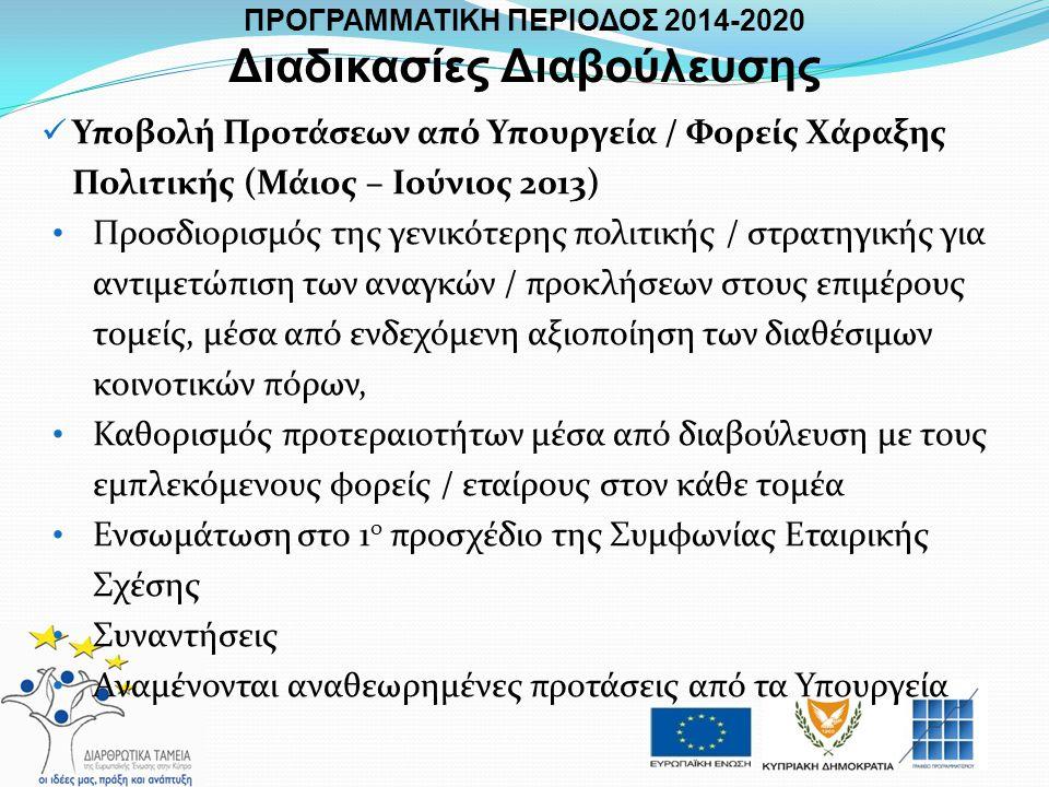  Υποβολή Προτάσεων από Υπουργεία / Φορείς Χάραξης Πολιτικής (Μάιος – Ιούνιος 2013) • Προσδιορισμός της γενικότερης πολιτικής / στρατηγικής για αντιμε