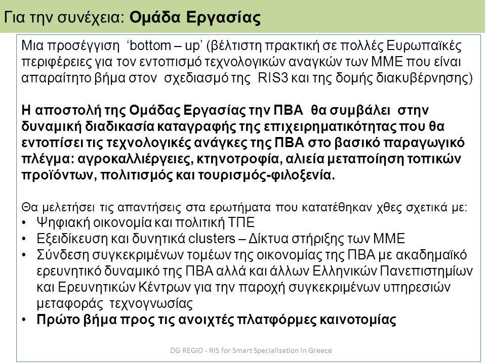 DG REGIO - RIS for Smart Specialisation in Greece Για την συνέχεια: Ομάδα Εργασίας Μια προσέγγιση 'bottom – up' (βέλτιστη πρακτική σε πολλές Ευρωπαϊκέ