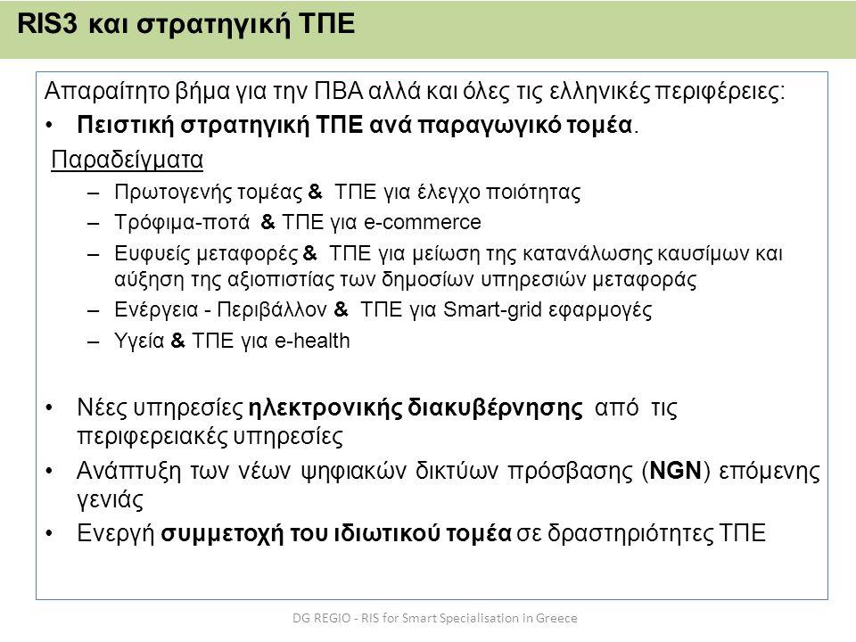 Απαραίτητο βήμα για την ΠΒΑ αλλά και όλες τις ελληνικές περιφέρειες: •Πειστική στρατηγική ΤΠΕ ανά παραγωγικό τομέα. Παραδείγματα –Πρωτογενής τομέας &
