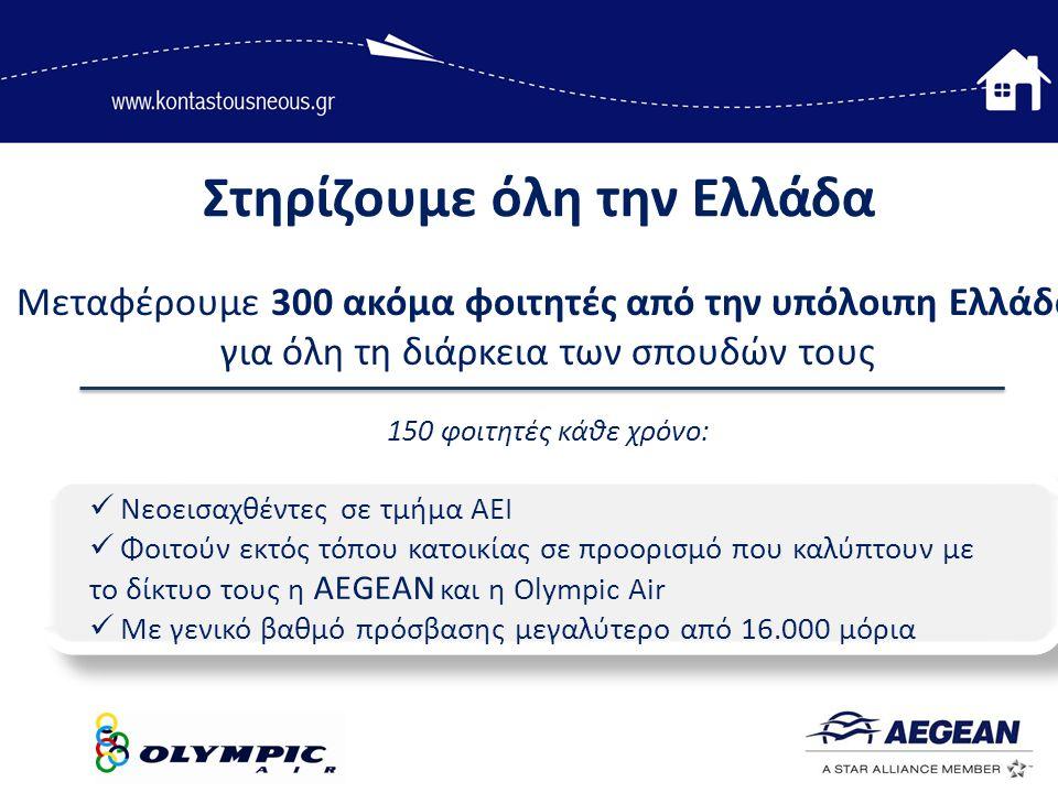 Στηρίζουμε όλη την Ελλάδα Μεταφέρουμε 300 ακόμα φοιτητές από την υπόλοιπη Ελλάδα για όλη τη διάρκεια των σπουδών τους 150 φοιτητές κάθε χρόνο:  Νεοεισαχθέντες σε τμήμα ΑΕΙ  Φοιτούν εκτός τόπου κατοικίας σε προορισμό που καλύπτουν με το δίκτυο τους η AEGEAN και η Olympic Air  Με γενικό βαθμό πρόσβασης μεγαλύτερο από 16.000 μόρια