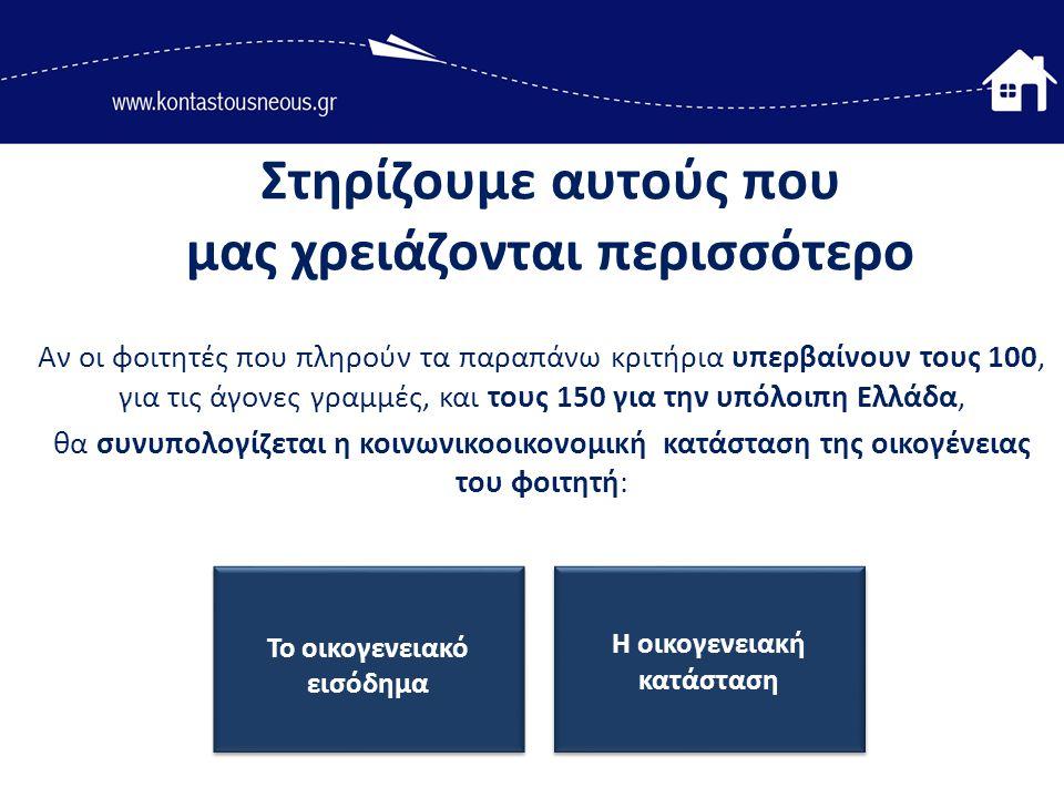 Αν οι φοιτητές που πληρούν τα παραπάνω κριτήρια υπερβαίνουν τους 100, για τις άγονες γραμμές, και τους 150 για την υπόλοιπη Ελλάδα, θα συνυπολογίζεται η κοινωνικοοικονομική κατάσταση της οικογένειας του φοιτητή: Στηρίζουμε αυτούς που μας χρειάζονται περισσότερο Το οικογενειακό εισόδημα Η οικογενειακή κατάσταση
