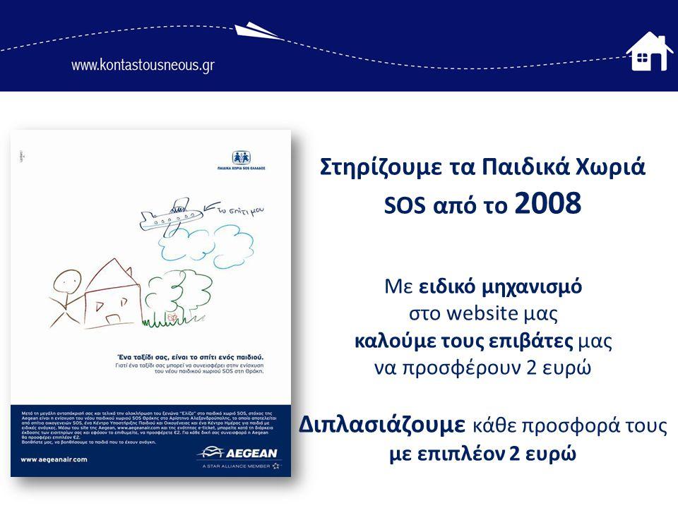 Στηρίζουμε τα Παιδικά Χωριά SOS από το 2008 Με ειδικό μηχανισμό στο website μας καλούμε τους επιβάτες μας να προσφέρουν 2 ευρώ Διπλασιάζουμε κάθε προσφορά τους με επιπλέον 2 ευρώ