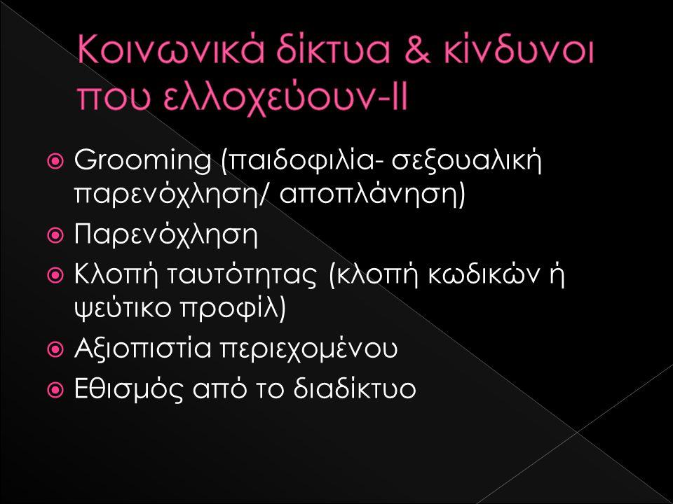  Grooming (παιδοφιλία- σεξουαλική παρενόχληση/ αποπλάνηση)  Παρενόχληση  Κλοπή ταυτότητας (κλοπή κωδικών ή ψεύτικο προφίλ)  Αξιοπιστία περιεχομένου  Εθισμός από το διαδίκτυο