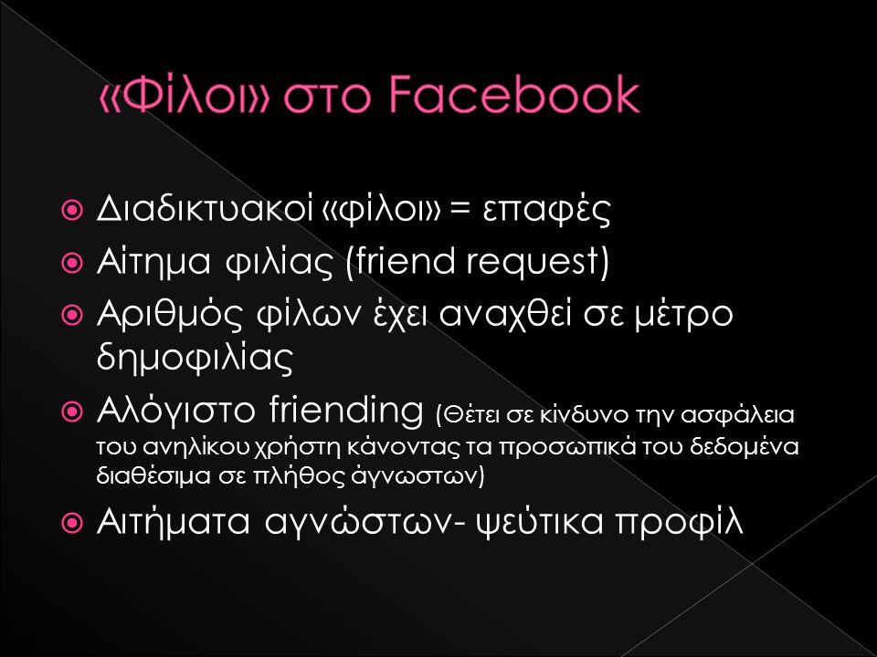  Διαδικτυακοί «φίλοι» = επαφές  Αίτημα φιλίας (friend request)  Αριθμός φίλων έχει αναχθεί σε μέτρο δημοφιλίας  Αλόγιστο friending (Θέτει σε κίνδυ