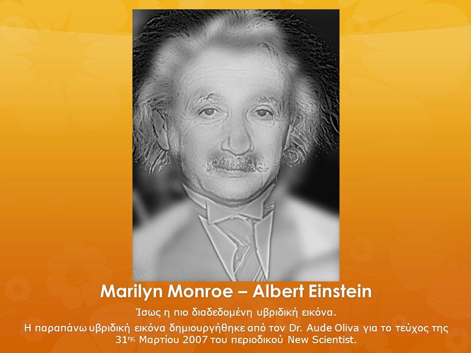 Marilyn Monroe – Albert Einstein Ίσως η πιο διαδεδομένη υβριδική εικόνα. Η παραπάνω υβριδική εικόνα δημιουργήθηκε από τον Dr. Aude Oliva για το τεύχος