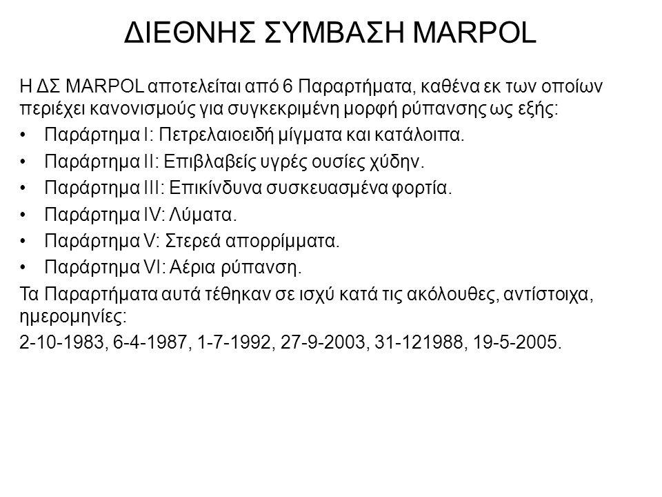 ΔΙΕΘΝΗΣ ΣΥΜΒΑΣΗ MARPOL Η ΔΣ MARPOL αποτελείται από 6 Παραρτήματα, καθένα εκ των οποίων περιέχει κανονισμούς για συγκεκριμένη μορφή ρύπανσης ως εξής: •