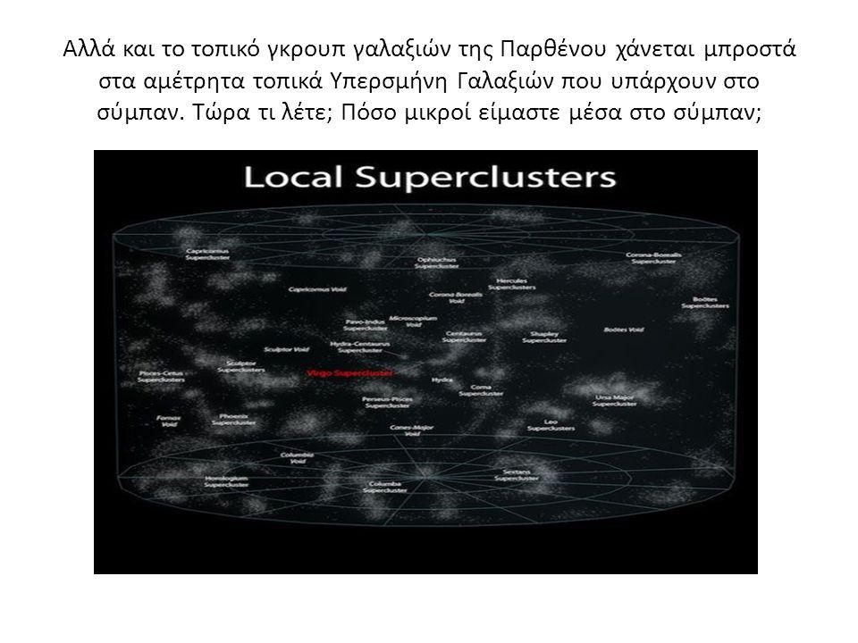 Αλλά και το τοπικό γκρουπ γαλαξιών της Παρθένου χάνεται μπροστά στα αμέτρητα τοπικά Υπερσμήνη Γαλαξιών που υπάρχουν στο σύμπαν.