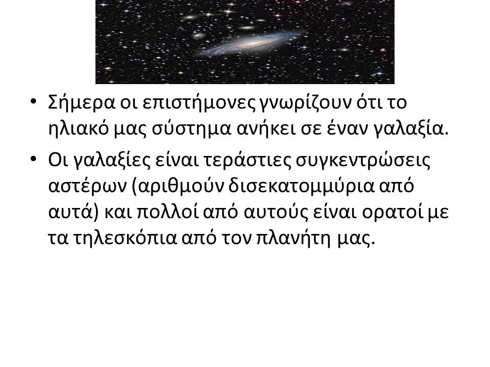 • Σήμερα οι επιστήμονες γνωρίζουν ότι το ηλιακό μας σύστημα ανήκει σε έναν γαλαξία.