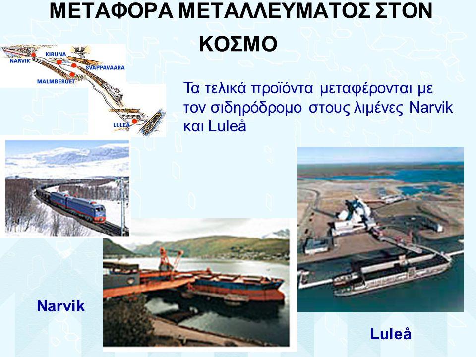 ΜΕΤΑΦΟΡΑ ΜΕΤΑΛΛΕΥΜΑΤΟΣ ΣΤΟΝ ΚΟΣΜΟ Τα τελικά προϊόντα μεταφέρονται με τον σιδηρόδρομο στους λιμένες Narvik και Luleå Narvik Luleå