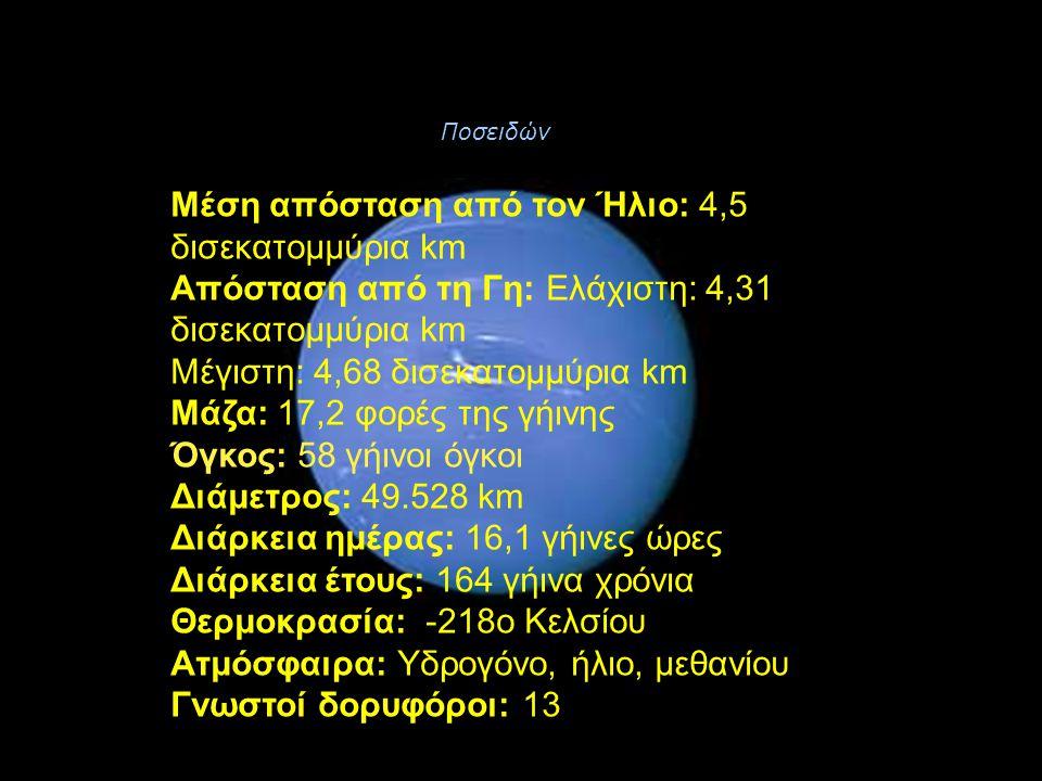Μέση απόσταση από τον Ήλιο: 4,5 δισεκατομμύρια km Απόσταση από τη Γη: Ελάχιστη: 4,31 δισεκατομμύρια km Μέγιστη: 4,68 δισεκατομμύρια km Μάζα: 17,2 φορέ