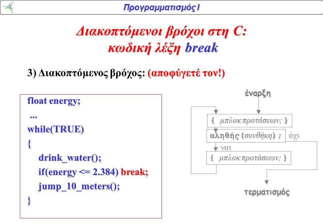 Προγραμματισμός Ι (αποφύγετέ τον!) 3) Διακοπτόμενος βρόχος: (αποφύγετέ τον!) float energy;......while(TRUE){drink_water(); if(energy <= 2.384) break; jump_10_meters();} Διακοπτόμενοι βρόχοι στη C: κωδική λέξη break αληθής( συνθήκη ); { μπλοκ προτάσεων; } ναι όχιέναρξητερματισμός { μπλοκ προτάσεων; }