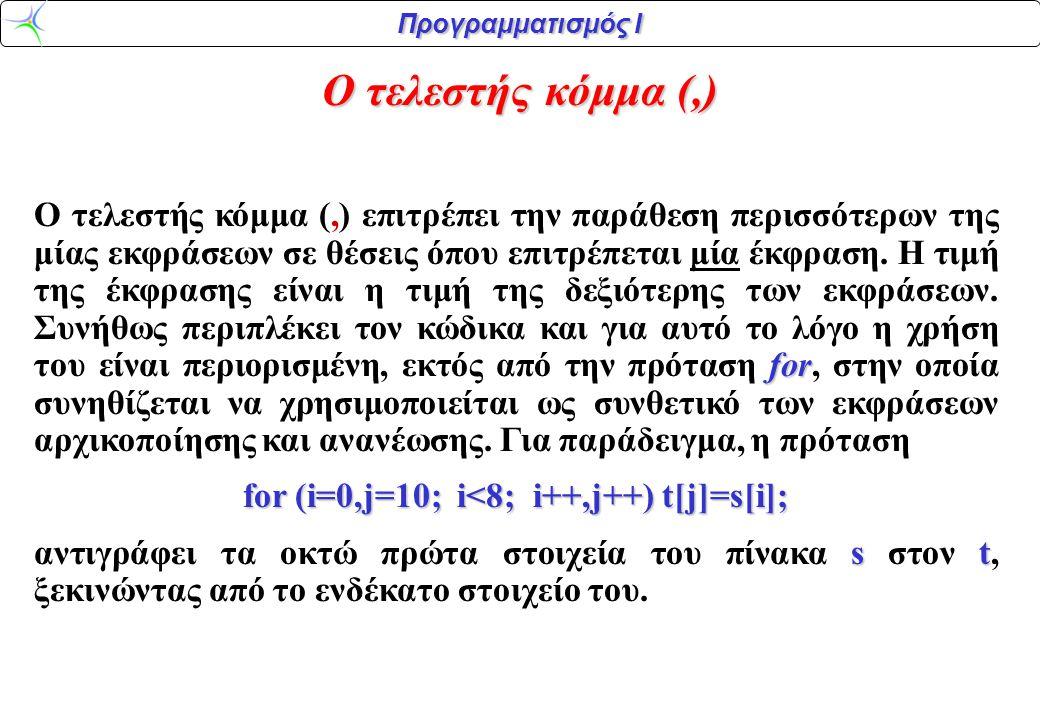 Προγραμματισμός Ι Ο τελεστής κόμμα (,) for Ο τελεστής κόμμα (,) επιτρέπει την παράθεση περισσότερων της μίας εκφράσεων σε θέσεις όπου επιτρέπεται μία έκφραση.