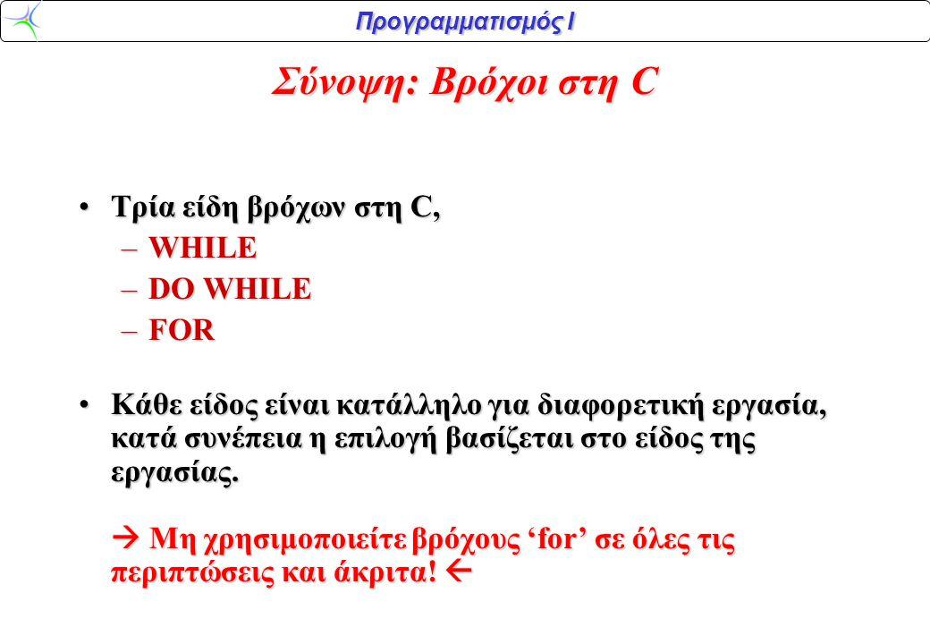Προγραμματισμός Ι Σύνοψη: Βρόχοι στη C •Tρία είδη βρόχων στη C, –WHILE –DO WHILE –FOR •Κάθε είδος είναι κατάλληλο για διαφορετική εργασία, κατά συνέπε