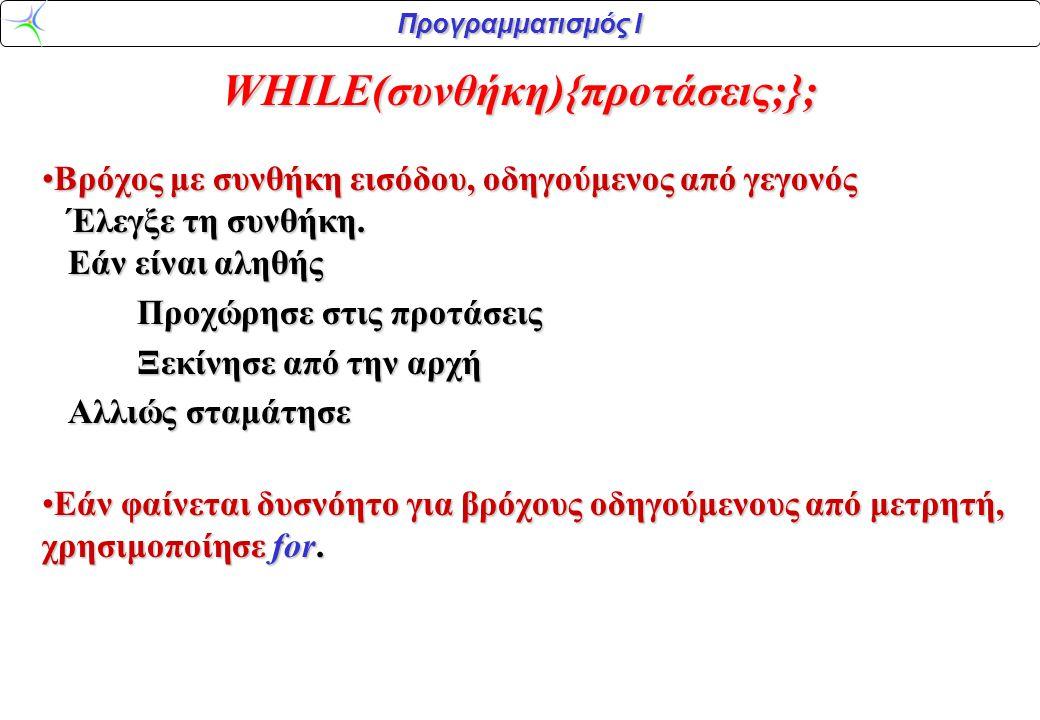 Προγραμματισμός Ι WHILE(συνθήκη){προτάσεις;}; •Βρόχος με συνθήκη εισόδου, οδηγούμενος από γεγονός Έλεγξε τη συνθήκη. Εάν είναι αληθής Προχώρησε στις π