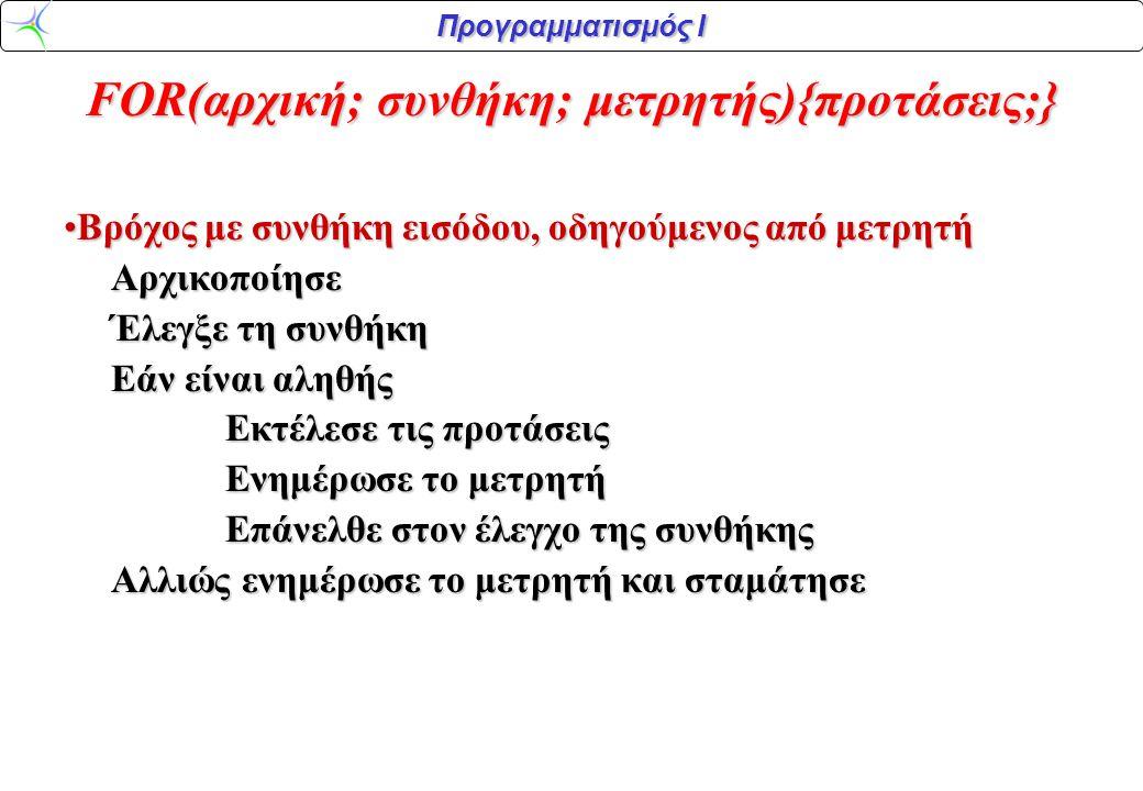 Προγραμματισμός Ι FOR(αρχική; συνθήκη; μετρητής){προτάσεις;} •Βρόχος με συνθήκη εισόδου, οδηγούμενος από μετρητή Αρχικοποίησε Αρχικοποίησε Έλεγξε τη συνθήκη Έλεγξε τη συνθήκη Εάν είναι αληθής Εάν είναι αληθής Εκτέλεσε τις προτάσεις Εκτέλεσε τις προτάσεις Ενημέρωσε το μετρητή Ενημέρωσε το μετρητή Επάνελθε στον έλεγχο της συνθήκης Επάνελθε στον έλεγχο της συνθήκης Αλλιώς ενημέρωσε το μετρητή και σταμάτησε Αλλιώς ενημέρωσε το μετρητή και σταμάτησε