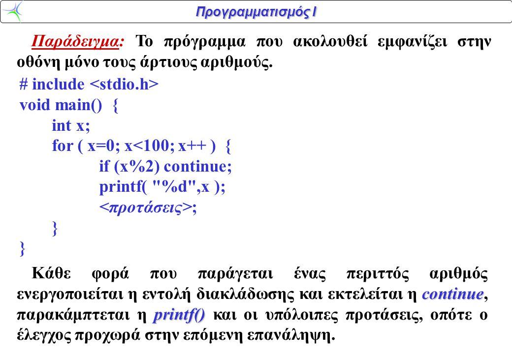 Προγραμματισμός Ι Παράδειγμα: Το πρόγραμμα που ακολουθεί εμφανίζει στην οθόνη μόνο τους άρτιους αριθμούς. # include void main() { int x; for ( x=0; x<