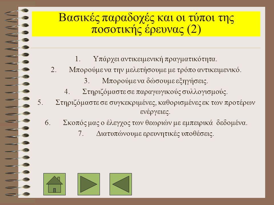 Βασικές έννοιες της ποσοτικής έρευνας μέσα από ένα παράδειγμα (12) Πειραματικές Ημι-πειραματικές Ποιοτικές Ερευνητικά ερωτήματα Υποθέσεις εργασίας