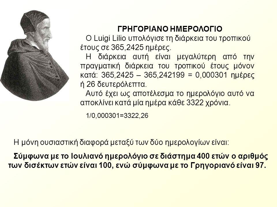 ΓΡΗΓΟΡΙΑΝΟ ΗΜΕΡΟΛΟΓΙΟ O Luigi Lilio υπολόγισε τη διάρκεια του τροπικού έτους σε 365,2425 ημέρες. Η διάρκεια αυτή είναι μεγαλύτερη από την πραγματική δ