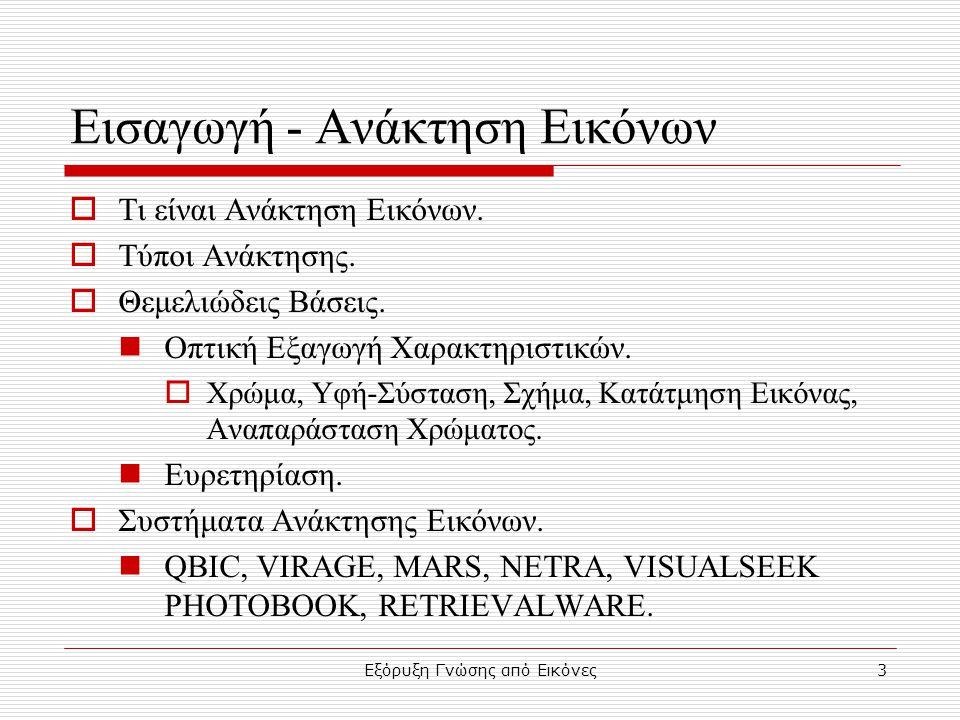 Εξόρυξη Γνώσης από Εικόνες4 Τα 5 Bασικά Bήματα Δεδομένα Γνώση Επιλογή Μετασχηματισμός Εξόρυξη-Ανάκτηση Γνώσης Προεπεξεργασία Ερμηνεία Textures Iσοστάθμιση Ιστογράμματος Φίλτρα Gabor Εξόρυξη-Ανάκτηση