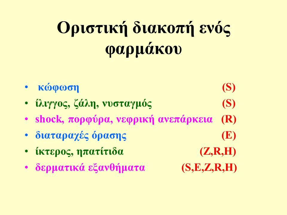 Οριστική διακοπή ενός φαρμάκου • κώφωση (S) •ίλιγγος, ζάλη, νυσταγμός (S) •shock, πορφύρα, νεφρική ανεπάρκεια (R) •διαταραχές όρασης (E) •ίκτερος, ηπατίτιδα (Z,R,H) •δερματικά εξανθήματα (S,E,Z,R,H)