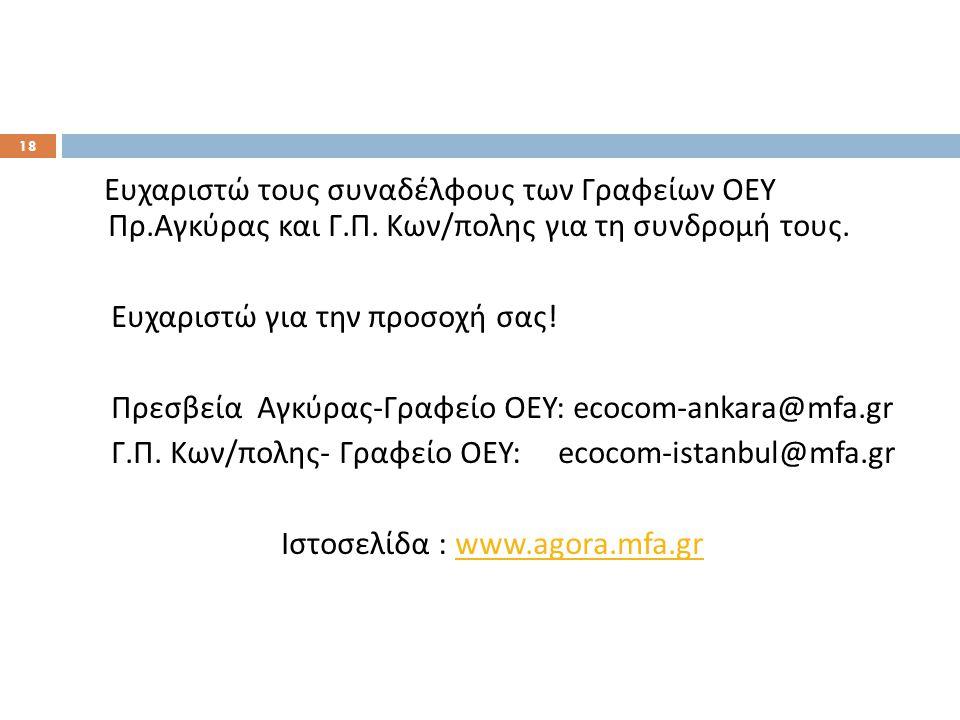 Ευχαριστώ τους συναδέλφους των Γραφείων ΟΕΥ Πρ. Αγκύρας και Γ. Π. Κων / πολης για τη συνδρομή τους. Ευχαριστώ για την προσοχή σας ! Πρεσβεία Αγκύρας -