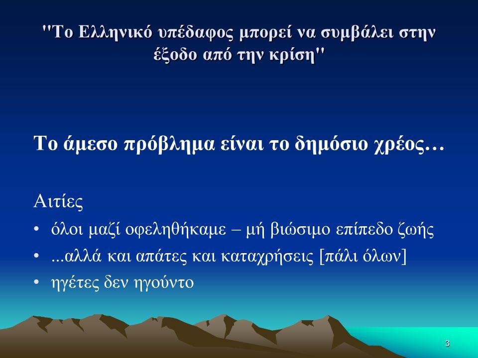 4 Το Ελληνικό υπέδαφος μπορεί να συμβάλει στην έξοδο από την κρίση …Άμεσο πρόβλημα: δημόσιο χρέος… Λύση με •περικοπές στο δημόσιο •εσωτερική υποτίμηση: πτώση αμοιβής εργασίας, τιμής γής/ακινήτων •μείωση φοροδιαφυγής •αξιοποίηση δημόσιας περιουσίας •αναδιάρθρωση κράτους & απελευθέρωση υγιών δυνάμεων •  αύξηση παραγωγής, επενδύσεων και εξαγωγών