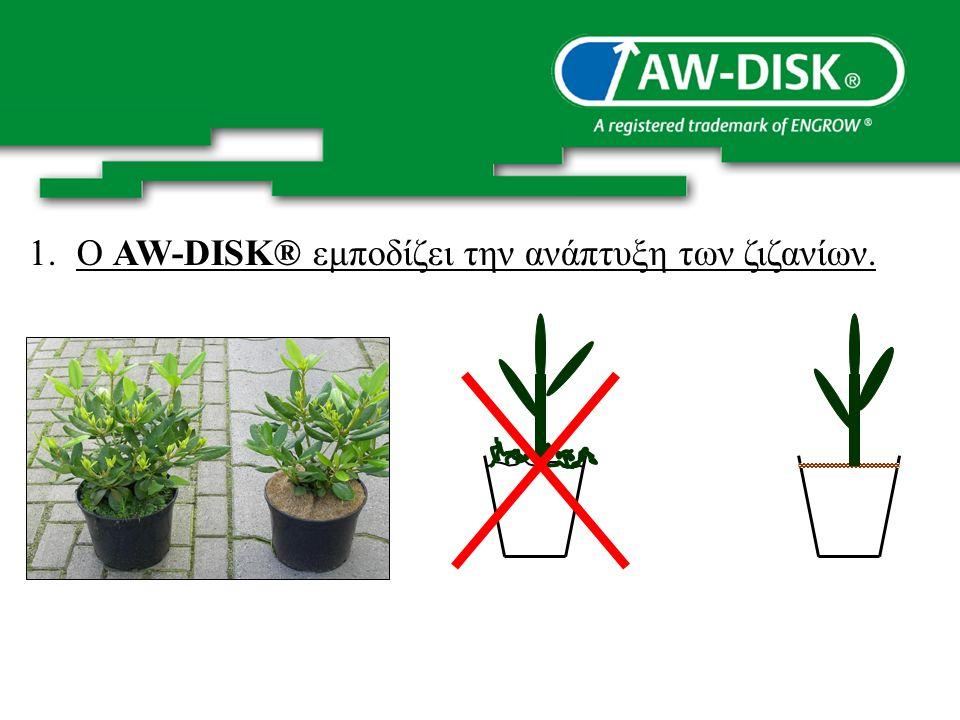 1.Ο AW-DISK® εμποδίζει την ανάπτυξη των ζιζανίων.