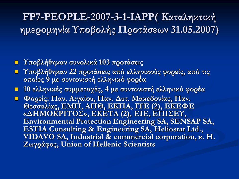 FP7-PEOPLE-2007-3-1-ΙAPP( Καταληκτική ημερομηνία Υποβολής Προτάσεων 31.05.2007)  Υποβλήθηκαν συνολικά 103 προτάσεις  Υποβλήθηκαν 22 προτάσεις από ελληνικούς φορείς, από τις οποίες 9 με συντονιστή ελληνικό φορέα  10 ελληνικές συμμετοχές, 4 με συντονιστή ελληνικό φορέα  Φορείς: Παν.