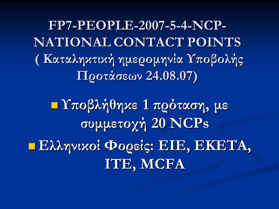 FP7-PEOPLE-2007-5-4-NCP- NATIONAL CONTACT POINTS ( Καταληκτική ημερομηνία Υποβολής Προτάσεων 24.08.07)  Υποβλήθηκε 1 πρόταση, με συμμετοχή 20 NCPs  Ελληνικοί Φορείς: ΕΙΕ, ΕΚΕΤΑ, ΙΤΕ, MCFA