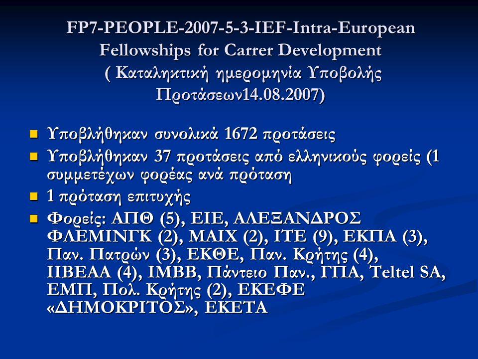 FP7-PEOPLE-2007-5-3-IEF-Intra-European Fellowships for Carrer Development ( Καταληκτική ημερομηνία Υποβολής Προτάσεων14.08.2007)  Υποβλήθηκαν συνολικά 1672 προτάσεις  Υποβλήθηκαν 37 προτάσεις από ελληνικούς φορείς (1 συμμετέχων φορέας ανά πρόταση  1 πρόταση επιτυχής  Φορείς: ΑΠΘ (5), ΕΙΕ, ΑΛΕΞΑΝΔΡΟΣ ΦΛΕΜΙΝΓΚ (2), ΜΑΙΧ (2), ΙΤΕ (9), ΕΚΠΑ (3), Παν.