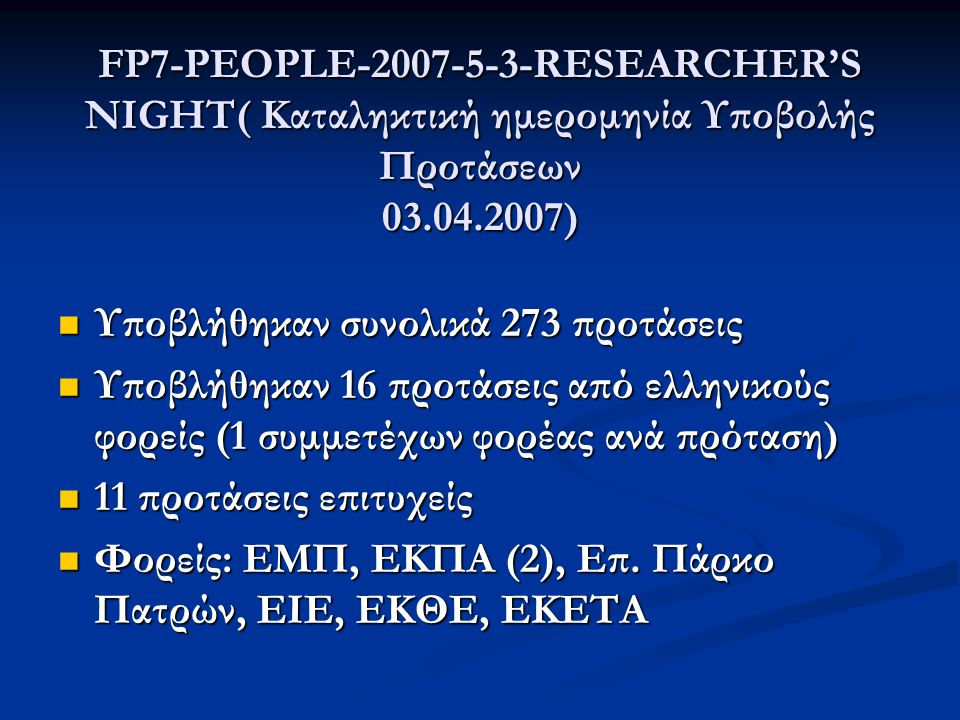 FP7-PEOPLE-2007-5-3-RESEARCHER'S NIGHT( Καταληκτική ημερομηνία Υποβολής Προτάσεων 03.04.2007)  Υποβλήθηκαν συνολικά 273 προτάσεις  Υποβλήθηκαν 16 προτάσεις από ελληνικούς φορείς (1 συμμετέχων φορέας ανά πρόταση)  11 προτάσεις επιτυχείς  Φορείς: ΕΜΠ, ΕΚΠΑ (2), Επ.