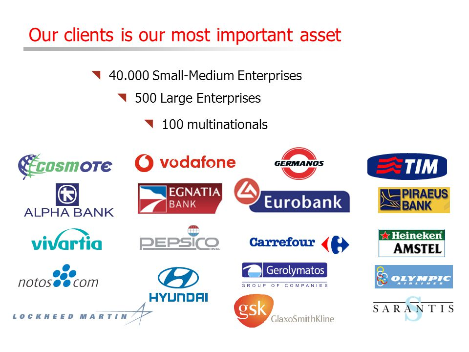 40.000 Small-Medium Enterprises 500 Large Enterprises Our clients is our most important asset 100 multinationals