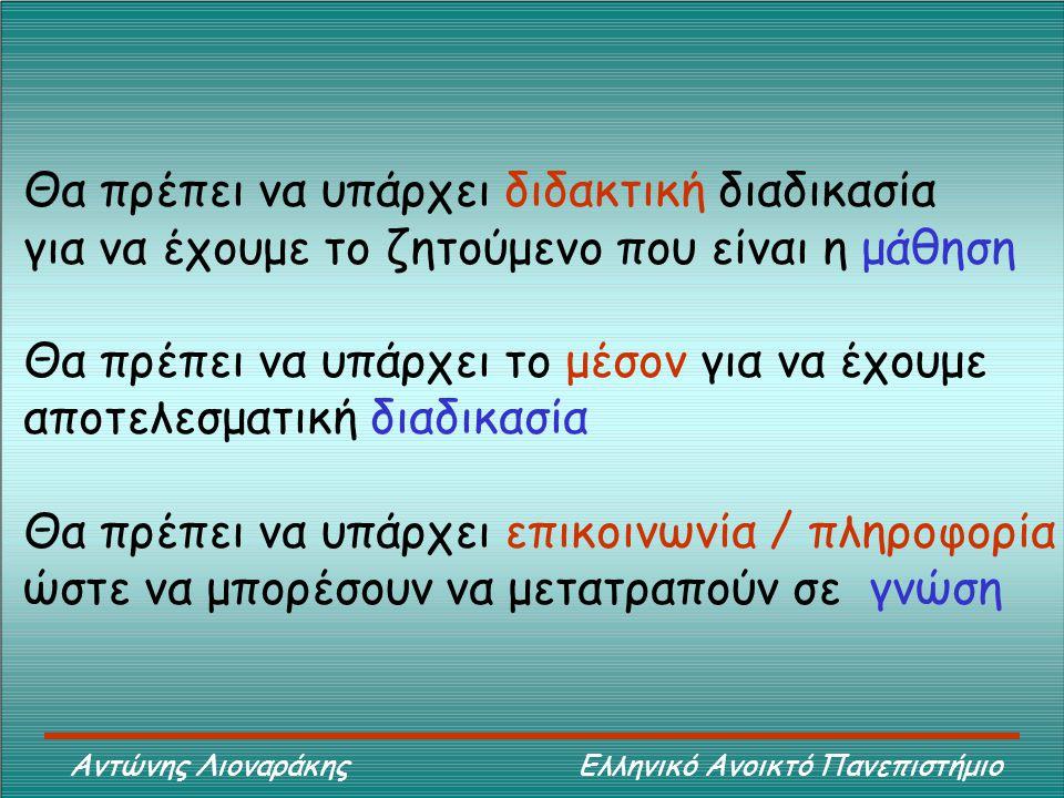 Αντώνης Λιοναράκης Ελληνικό Ανοικτό Πανεπιστήμιο Θα πρέπει να υπάρχει διδακτική διαδικασία για να έχουμε το ζητούμενο που είναι η μάθηση Θα πρέπει να υπάρχει το μέσον για να έχουμε αποτελεσματική διαδικασία Θα πρέπει να υπάρχει επικοινωνία / πληροφορία ώστε να μπορέσουν να μετατραπούν σε γνώση