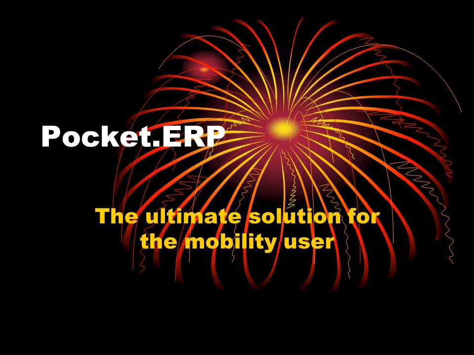 Pocket.ERP The ultimate solution for the mobility user