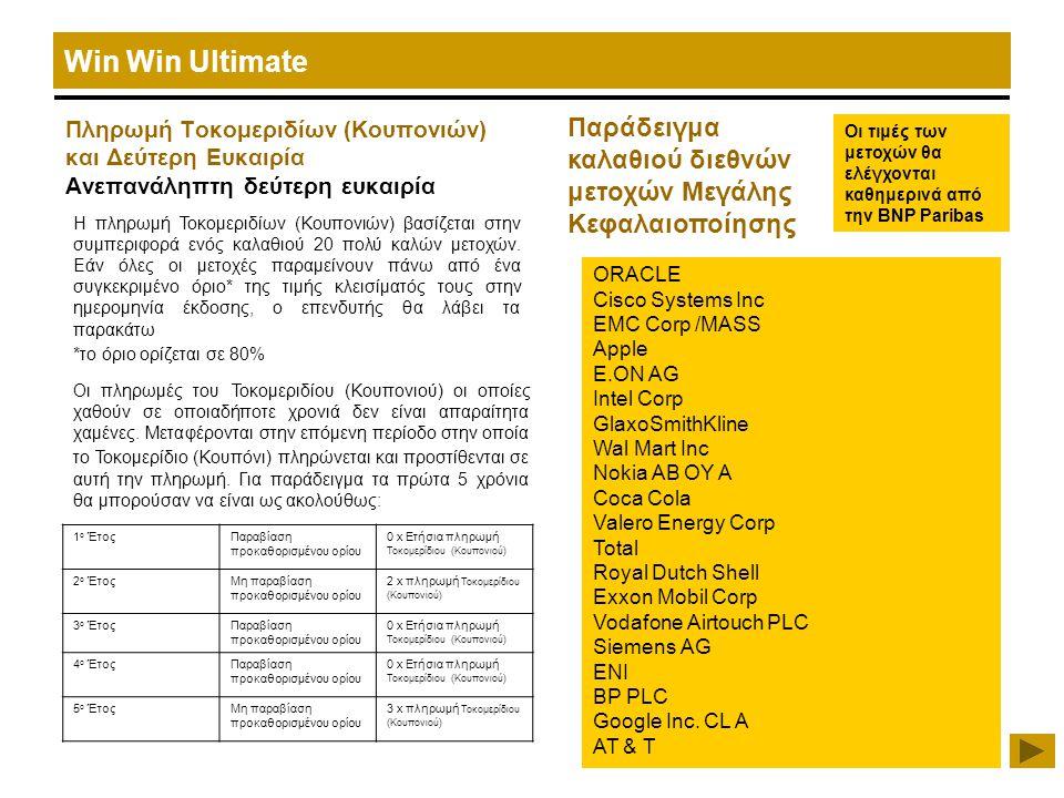 Win Win Ultimate Πληρωμή Τοκομεριδίων (Κουπονιών) και Δεύτερη Ευκαιρία Ανεπανάληπτη δεύτερη ευκαιρία Παράδειγμα καλαθιού διεθνών μετοχών Μεγάλης Κεφαλαιοποίησης Οι τιμές των μετοχών θα ελέγχονται καθημερινά από την BNP Paribas ORACLE Cisco Systems Inc EMC Corp /MASS Apple E.ON AG Intel Corp GlaxoSmithKline Wal Mart Inc Nokia AB OY A Coca Cola Valero Energy Corp Total Royal Dutch Shell Exxon Mobil Corp Vodafone Airtouch PLC Siemens AG ENI BP PLC Google Inc.