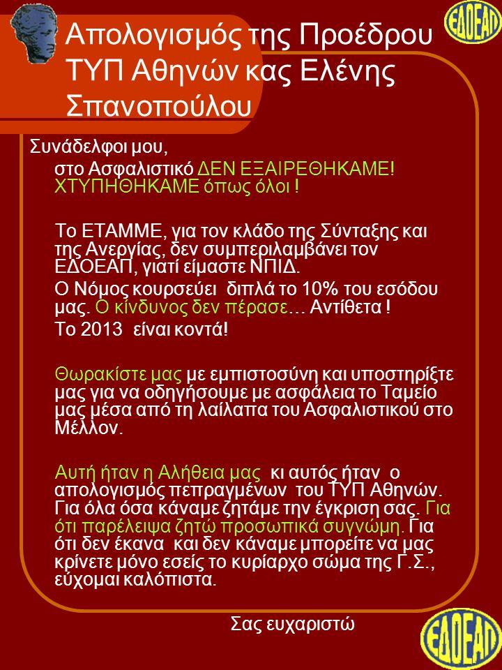 Απολογισμός της Προέδρου ΤΥΠ Αθηνών κας Ελένης Σπανοπούλου Συνάδελφοι μου, στο Ασφαλιστικό ΔΕΝ ΕΞΑΙΡΕΘΗΚΑΜΕ! ΧΤΥΠΗΘΗΚΑΜΕ όπως όλοι ! Το ΕΤΑΜΜΕ, για το