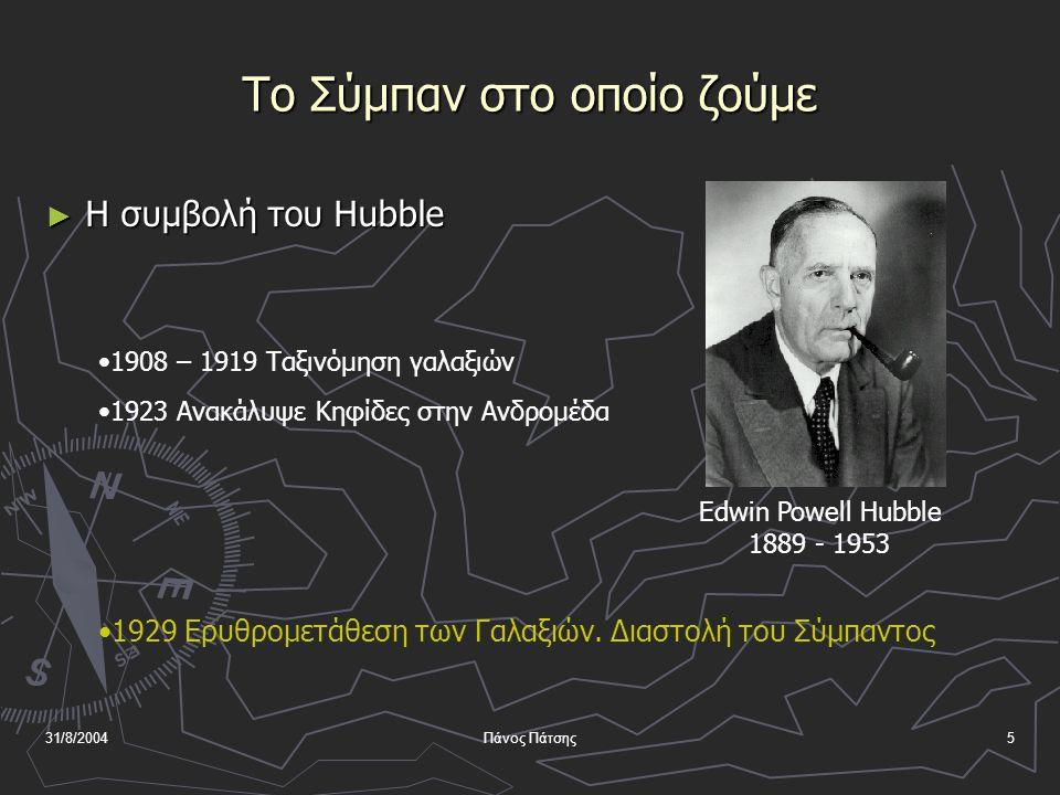 31/8/2004Πάνος Πάτσης5 Το Σύμπαν στο οποίο ζούμε ► Η συμβολή του Hubble Edwin Powell Hubble 1889 - 1953 •1908 – 1919 Ταξινόμηση γαλαξιών •1923 Ανακάλυψε Κηφίδες στην Ανδρομέδα •1929 Ερυθρομετάθεση των Γαλαξιών.