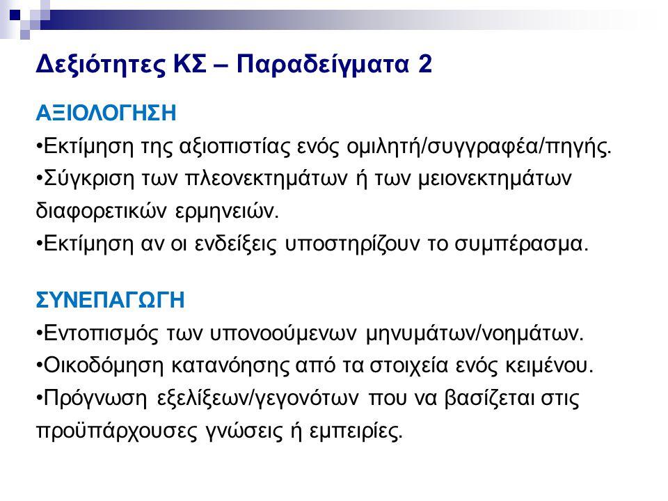 Δεξιότητες ΚΣ – Παραδείγματα 2 ΣΥΝΕΠΑΓΩΓΗ •Εντοπισμός των υπονοούμενων μηνυμάτων/νοημάτων. •Οικοδόμηση κατανόησης από τα στοιχεία ενός κειμένου. •Πρόγ