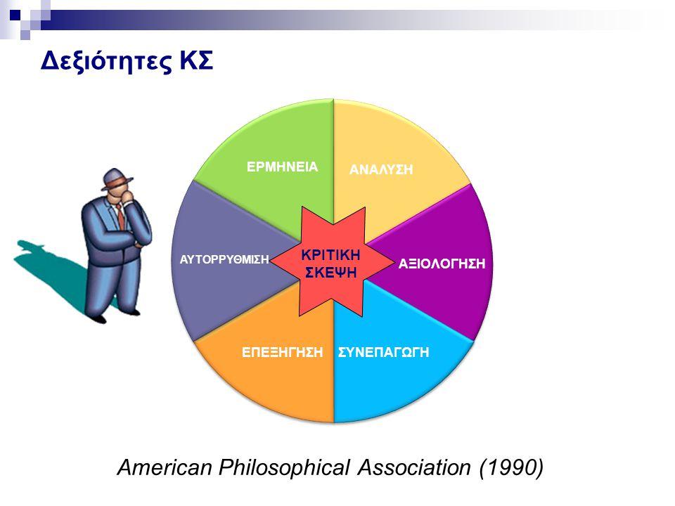 ΑΝΑΛΥΣΗ ΑΞΙΟΛΟΓΗΣΗ ΣΥΝΕΠΑΓΩΓΗΕΠΕΞΗΓΗΣΗ ΑΥΤΟΡΡΥΘΜΙΣΗ ΕΡΜΗΝΕΙΑ ΚΡΙΤΙΚΗ ΣΚΕΨΗ Δεξιότητες ΚΣ American Philosophical Association (1990)