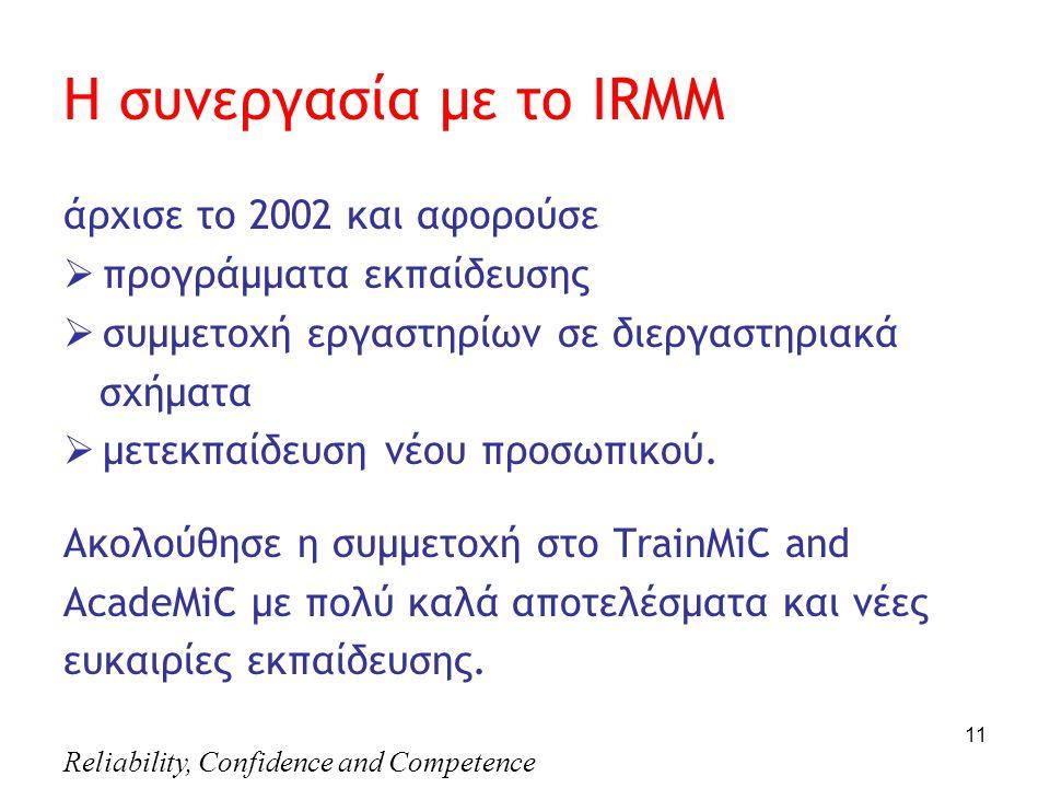 Reliability, Confidence and Competence 11 Η συνεργασία με το IRMM άρχισε το 2002 και αφορούσε  προγράμματα εκπαίδευσης  συμμετοχή εργαστηρίων σε διεργαστηριακά σχήματα  μετεκπαίδευση νέου προσωπικού.