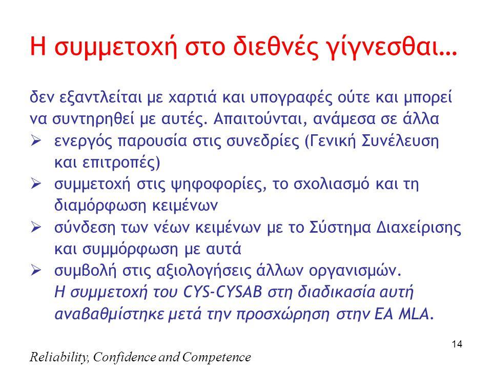Reliability, Confidence and Competence 14 Η συμμετοχή στο διεθνές γίγνεσθαι… δεν εξαντλείται με χαρτιά και υπογραφές ούτε και μπορεί να συντηρηθεί με αυτές.
