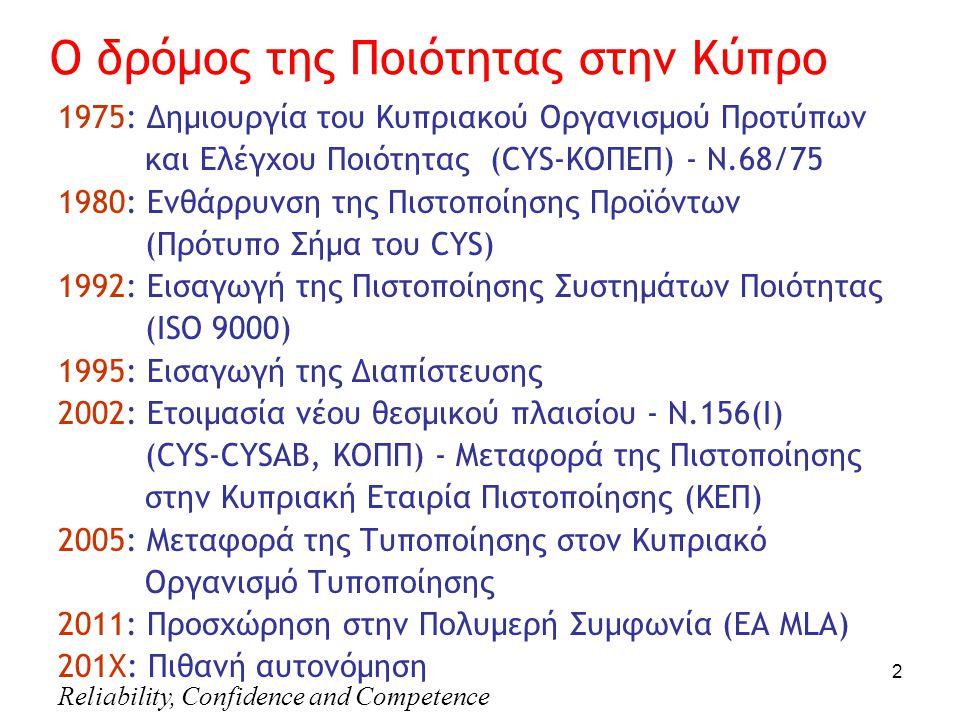 Reliability, Confidence and Competence 2 Ο δρόμος της Ποιότητας στην Κύπρο 1975: Δημιουργία του Κυπριακού Οργανισμού Προτύπων και Ελέγχου Ποιότητας (CYS-ΚΟΠΕΠ) - Ν.68/75 1980: Ενθάρρυνση της Πιστοποίησης Προϊόντων (Πρότυπο Σήμα του CYS) 1992: Εισαγωγή της Πιστοποίησης Συστημάτων Ποιότητας (ISO 9000) 1995: Εισαγωγή της Διαπίστευσης 2002: Ετοιμασία νέου θεσμικού πλαισίου - Ν.156(Ι) (CYS-CYSAB, ΚΟΠΠ) - Μεταφορά της Πιστοποίησης στην Κυπριακή Εταιρία Πιστοποίησης (ΚΕΠ) 2005: Μεταφορά της Τυποποίησης στον Κυπριακό Οργανισμό Τυποποίησης 2011: Προσχώρηση στην Πολυμερή Συμφωνία (EA MLΑ) 201Χ: Πιθανή αυτονόμηση