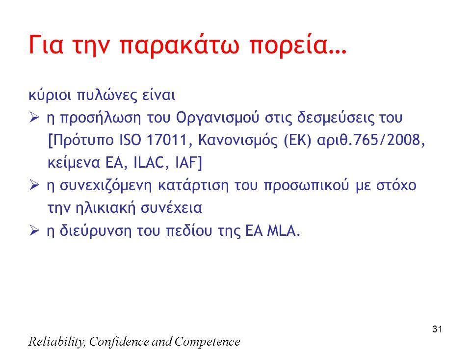 Reliability, Confidence and Competence 31 Για την παρακάτω πορεία… κύριοι πυλώνες είναι  η προσήλωση του Οργανισμού στις δεσμεύσεις του [Πρότυπο ΙSO 17011, Κανονισμός (ΕΚ) αριθ.765/2008, κείμενα EA, ILAC, IAF]  η συνεχιζόμενη κατάρτιση του προσωπικού με στόχο την ηλικιακή συνέχεια  η διεύρυνση του πεδίου της ΕΑ MLA.